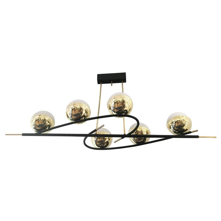 Stunning Elongated Mid Century Chandelier With Six Globes For