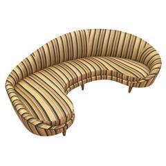 Large Curved Italian Mid-Century Sofa