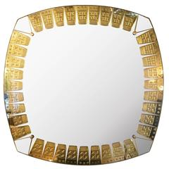 Etched Gold Mirror by Cristal Art, Italy, 1960s