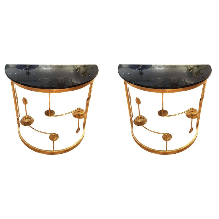 Pair of Gilded Demilune Consoles by Banci