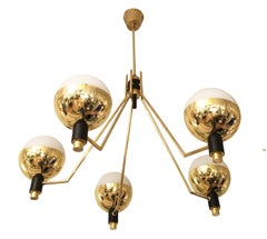 Five-Arm Chandelier Attributed to Stilnovo, Italy, 1960s