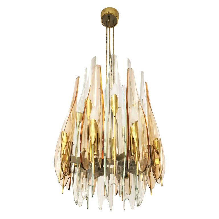 """Dahlia"" Chandelier by Max Ingrand for Fontana Arte, 1954 1"