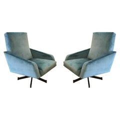 Pair of Italian Mid-Century Swivel Lounge Chairs