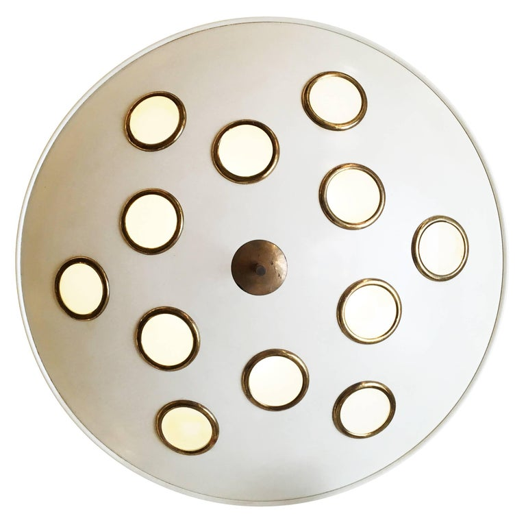 Mid-Century Modern Saucer Flush Mount Chandelier Attributed to Arredoluce, Italy, 1950s For Sale
