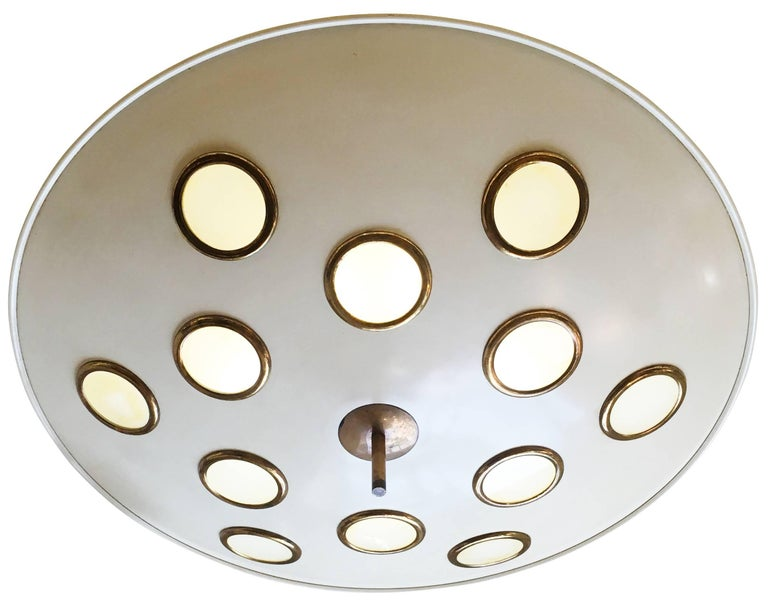 Italian Saucer Flush Mount Chandelier Attributed to Arredoluce, Italy, 1950s For Sale