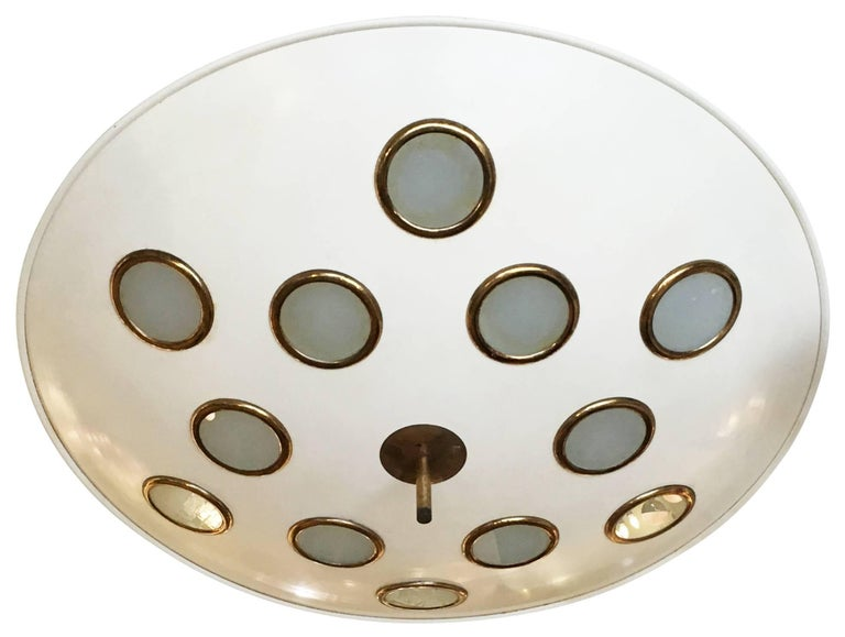 Saucer Flush Mount Chandelier Attributed to Arredoluce, Italy, 1950s In Excellent Condition For Sale In New York, NY
