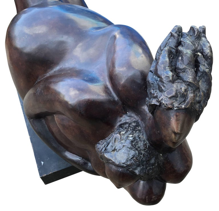 American Large Oil Rubbed Bronze Sculpture For Sale