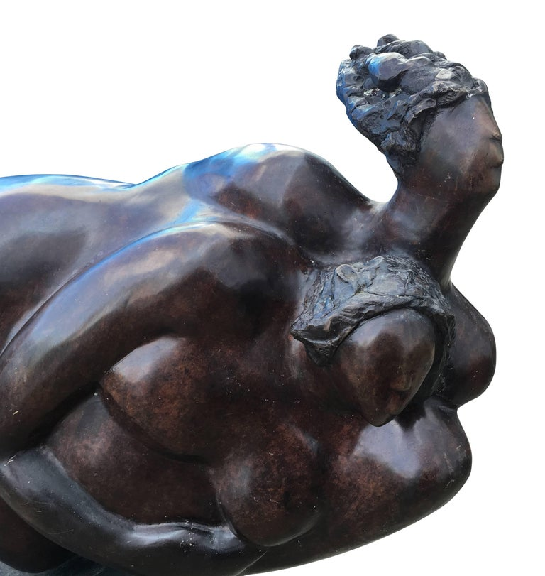 Late 20th Century Large Oil Rubbed Bronze Sculpture For Sale