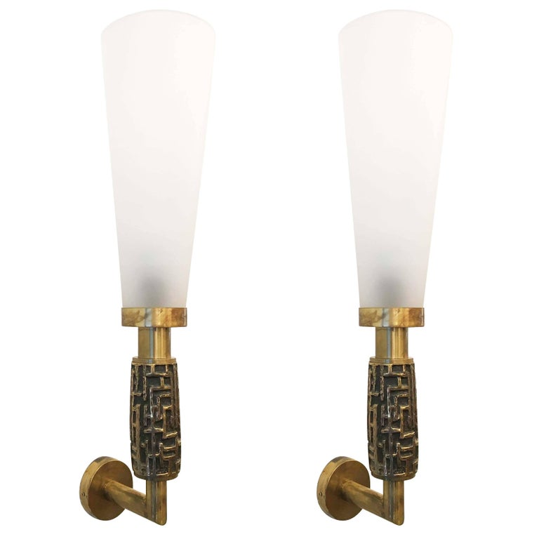 Pair of Large Luciano Frigerio Wall Lights, Italy, 1970s