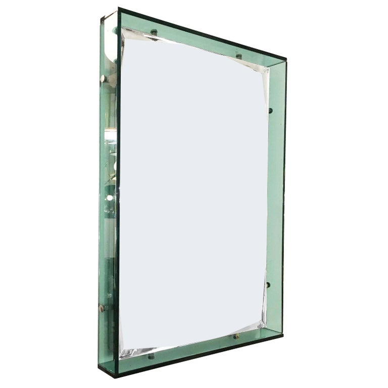 Rectangular Turquoise Mirror by Cristal Art, Italy, 1960s
