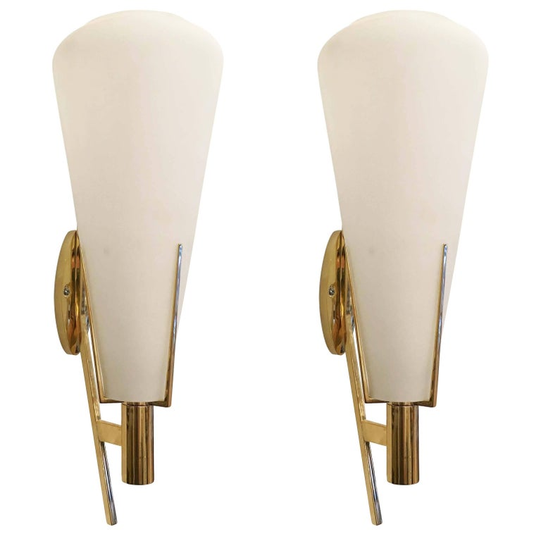 Pair of Brass and Glass Sconces Attributed to Stilnovo, Italy, 1960s
