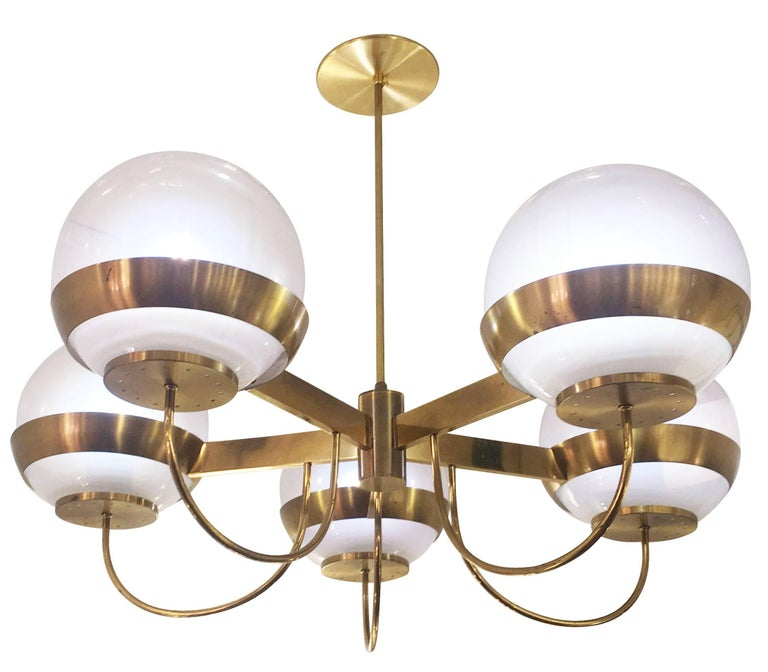Late 20th Century Brass Chandelier by Lamperti, Italy, 1960s For Sale