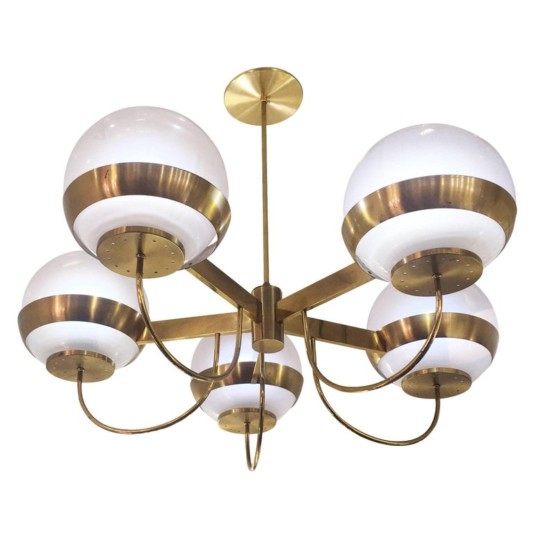 Italian Brass Chandelier by Lamperti, Italy, 1960s For Sale