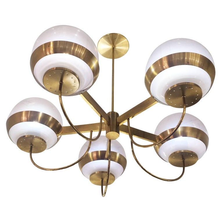 Brass Chandelier by Lamperti, Italy, 1960s For Sale