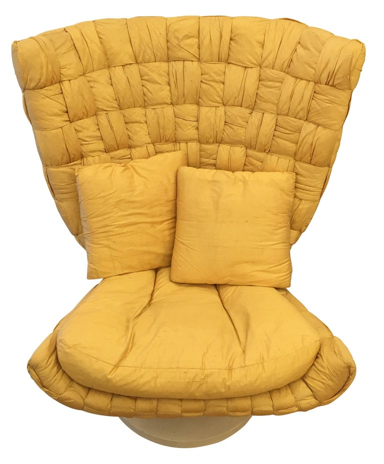 Silk Swivel Lounge Chair by Marzio Cecchi For Sale