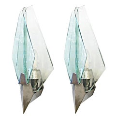 Pair of Sculptural Sconces by Cristal Art, Italy, 1970s