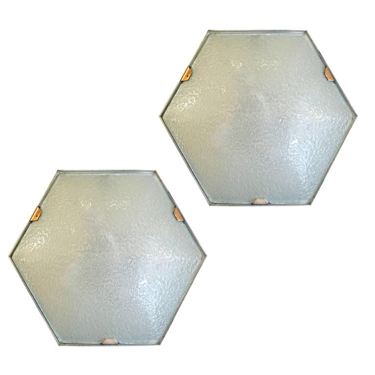 Esagonal Wall or Ceiling Lights by Stilnovo, Italy, 1960s