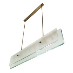 Elongated Glass Chandelier Attributed to Fontana Arte