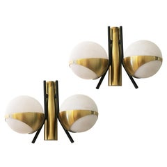 Pair of Diminutive Stilnovo Wall Lights, Italy, 1960s