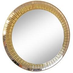 Large Round Cristal Art Mirror, Italy, 1960s