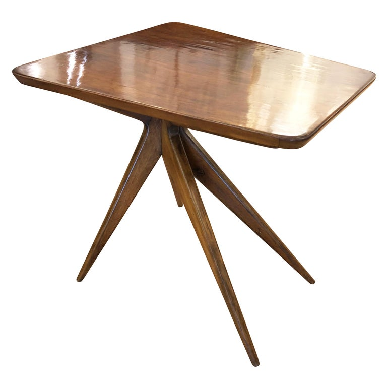 Midcentury Wood Trapezoid Side Table