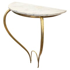 Marble and Brass Console, Italy, 1950s