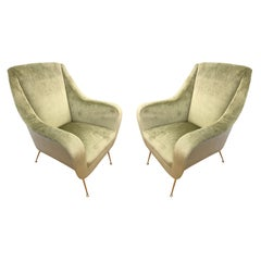 Pair of Light Green Midcentury Lounge Chairs