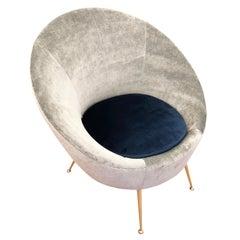 Round Italian Midcentury Lounge Chair