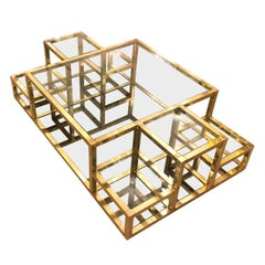 Multi-Level Brass Coffee Table, Italy, 1960s