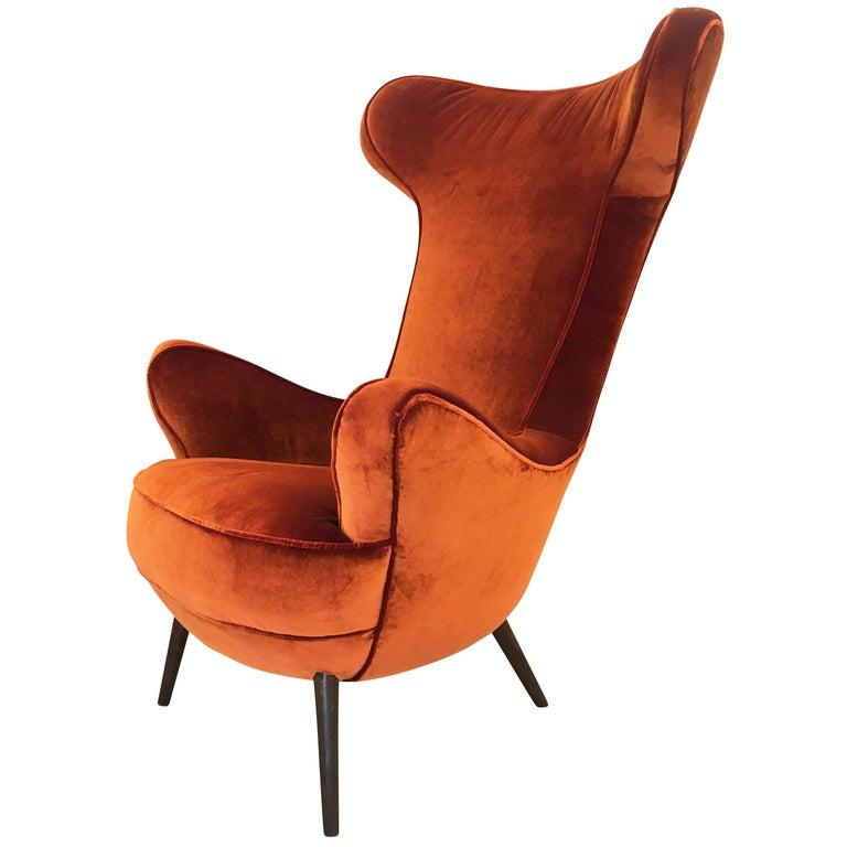 Italian Midcentury Armchair in the Style of Carlo Mollino