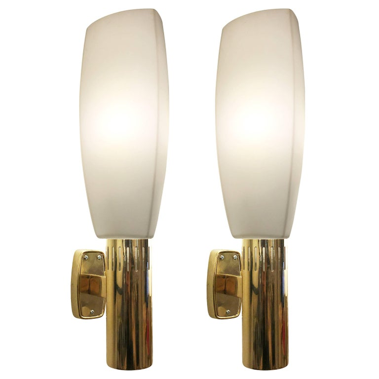 Large Brass and Glass Stilnovo Sconces, Italy, 1960s For Sale