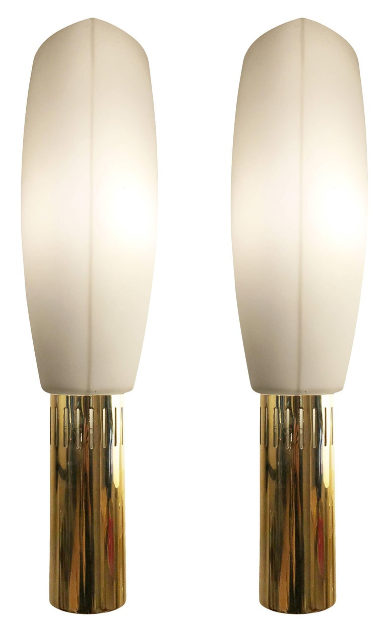 Mid-Century Modern Large Brass and Glass Stilnovo Sconces, Italy, 1960s For Sale