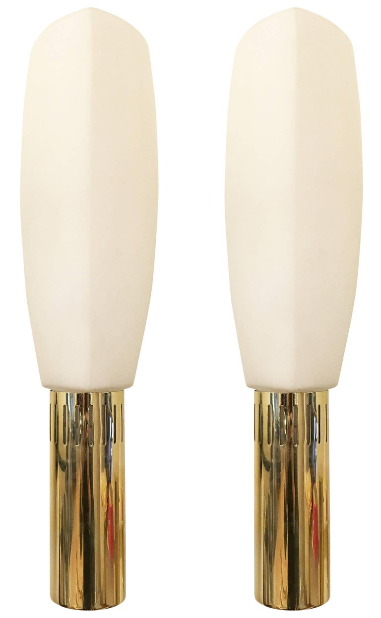 Italian Large Brass and Glass Stilnovo Sconces, Italy, 1960s For Sale