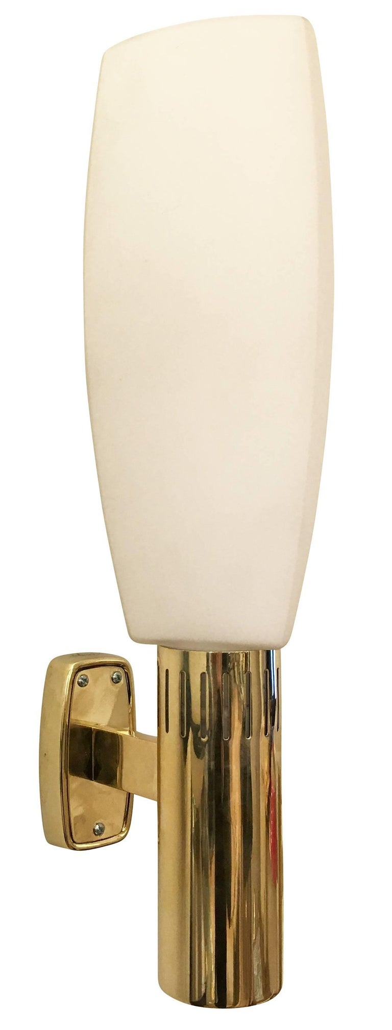 Mid-20th Century Large Brass and Glass Stilnovo Sconces, Italy, 1960s For Sale