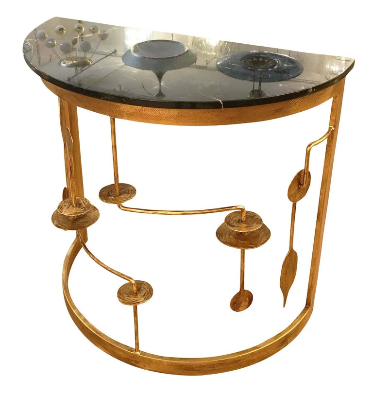 Modern Gilded Demilune Console by Banci For Sale