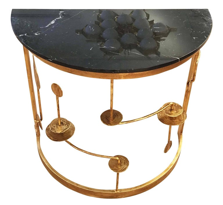 Italian Gilded Demilune Console by Banci For Sale