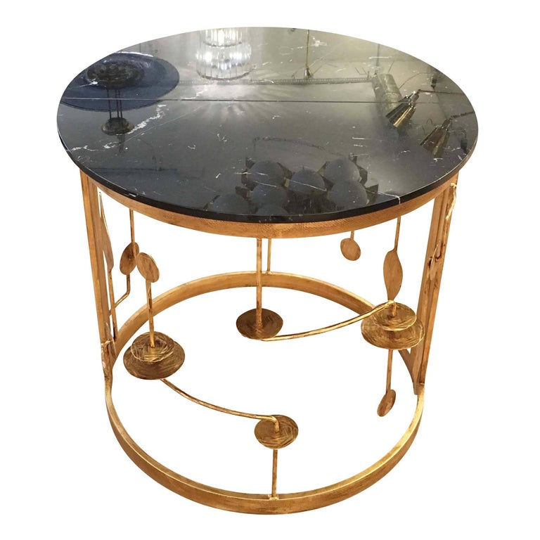 Gilded Demilune Console by Banci In New Condition For Sale In New York, NY
