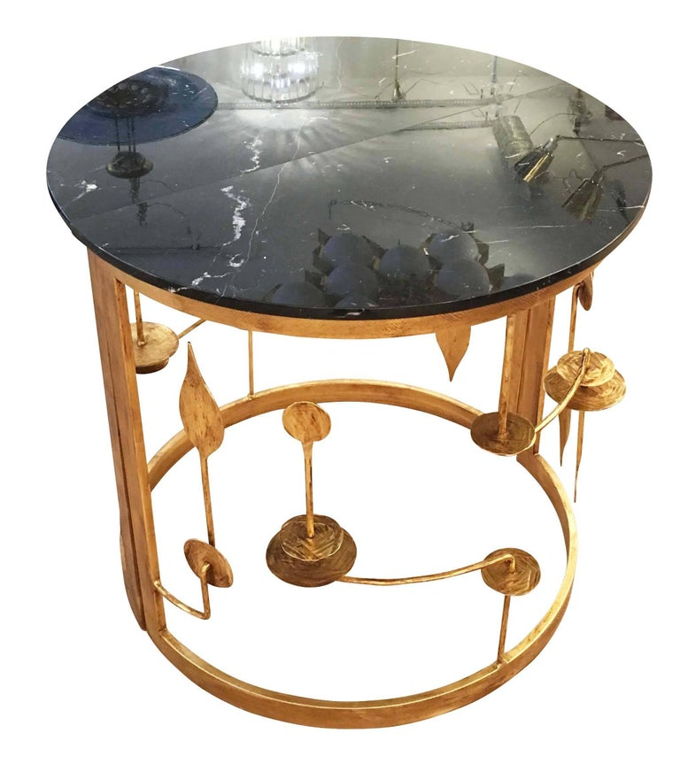 Contemporary Gilded Demilune Console by Banci For Sale