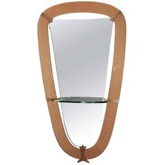 Large Cristal Art Mirror and Console, Italy, 1950s