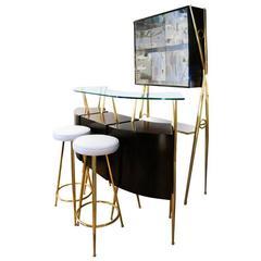 Posh Mahogany Bar Counter, Cupboard and Stool Set, Italy, 1950s