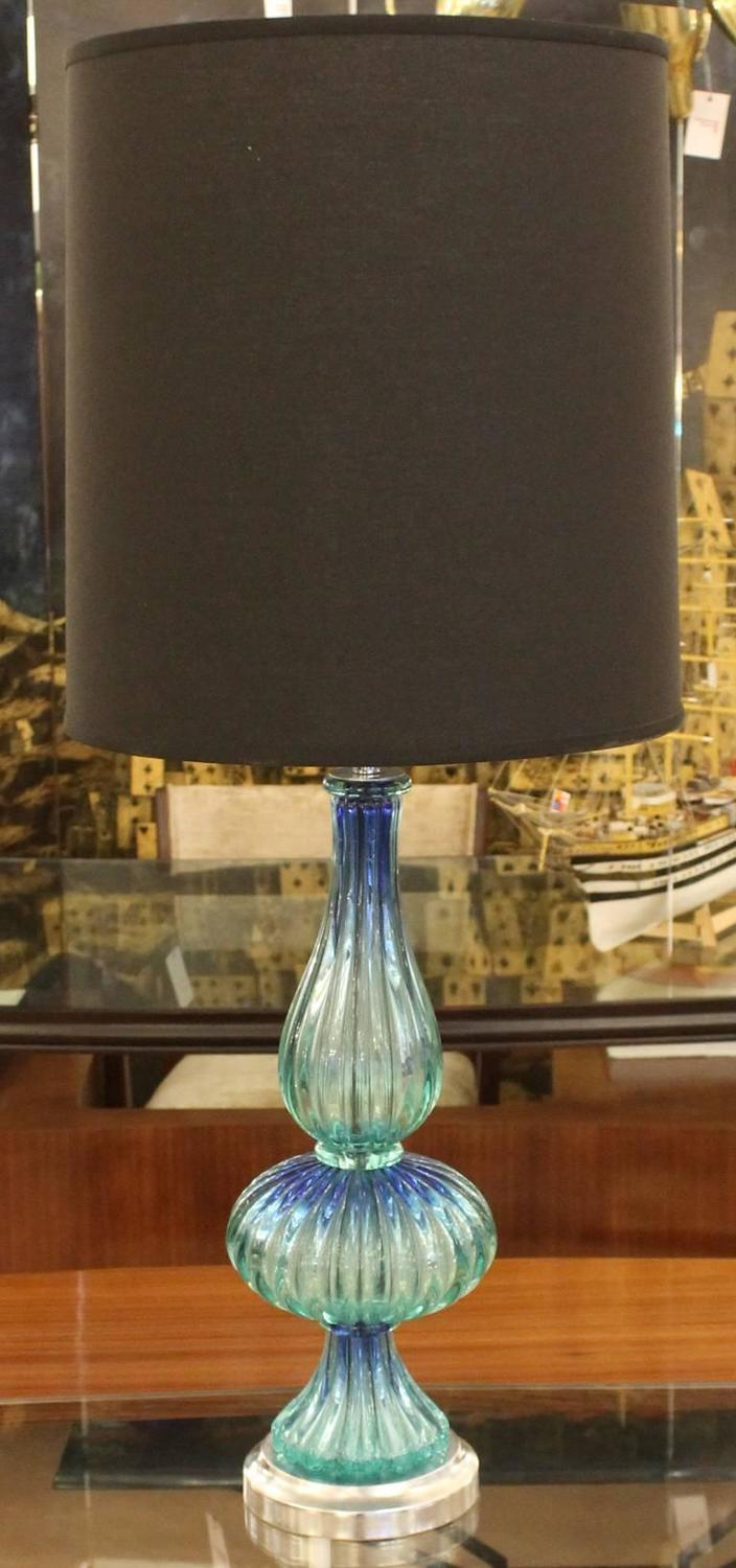 aqua murano glass table lamp italy 1960s for sale at 1stdibs. Black Bedroom Furniture Sets. Home Design Ideas