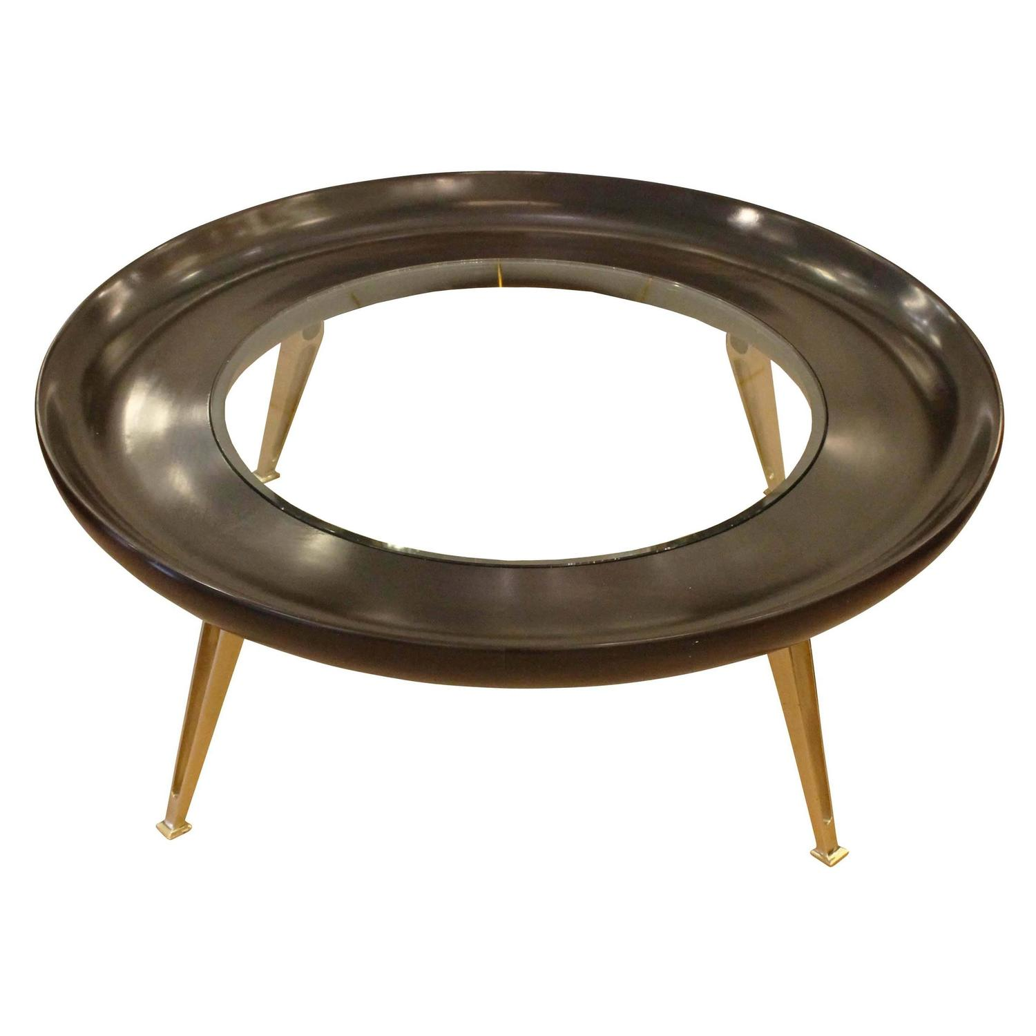 Large round brass and wood coffee table at 1stdibs Brass round coffee table