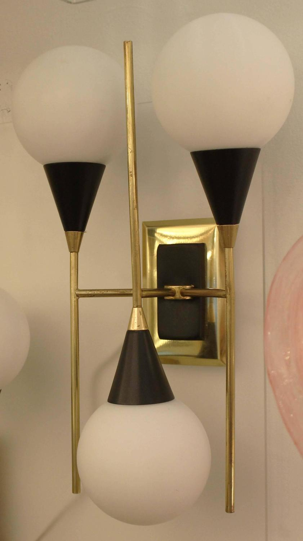 1960 Novelty Lighting : Pair of Three-Light Stilnovo Style Sconces, Italy, 1960s at 1stdibs