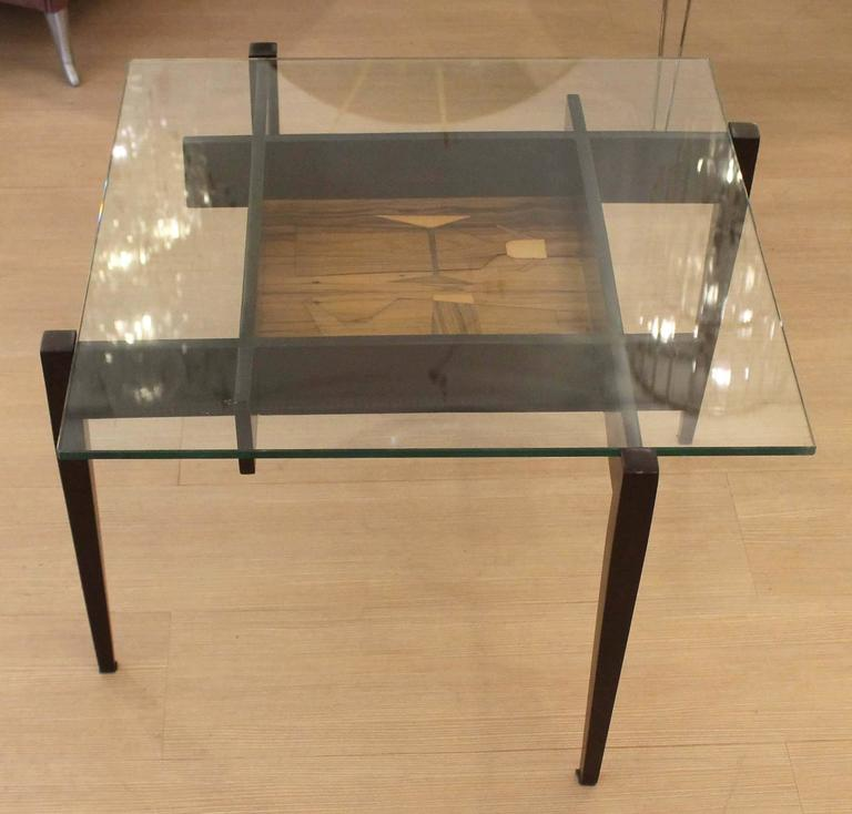 Mid-Century Modern Square Coffee or Side Table with Center Etching, Italy, 1950s For Sale