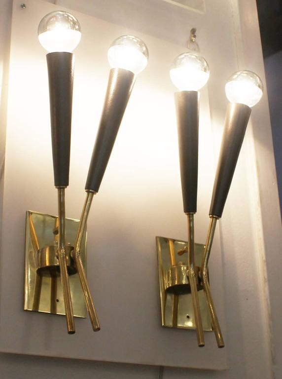 Pair of Two Light Stilnovo Style Sconces, Italy, 1960s 3
