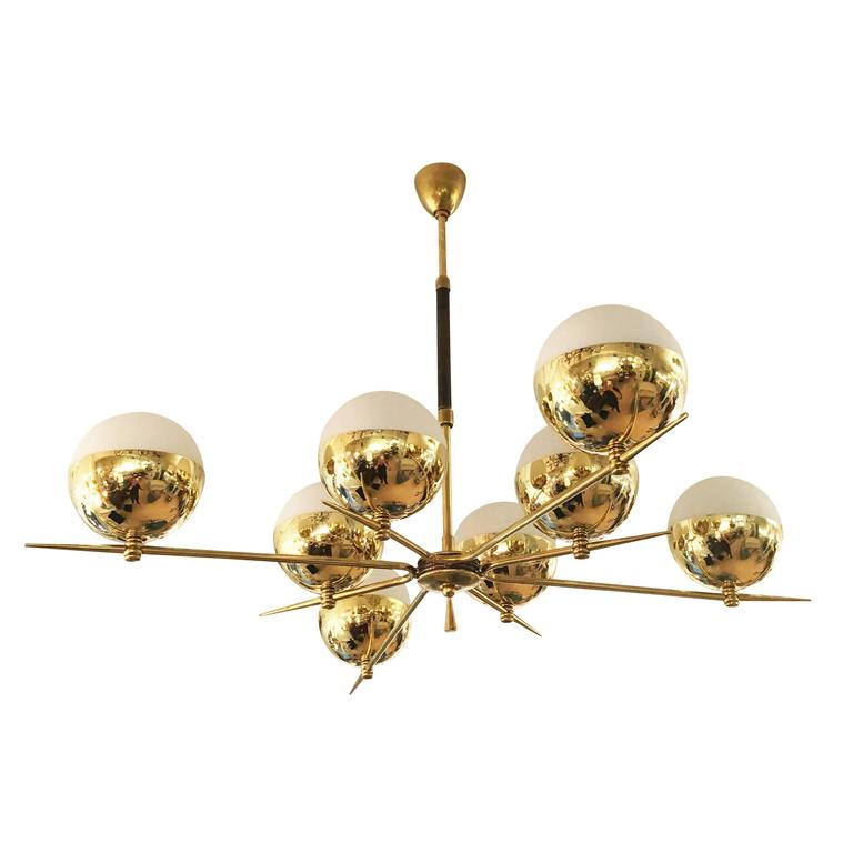 Star Shaped Mid Century Chandelier With Eight Globes At