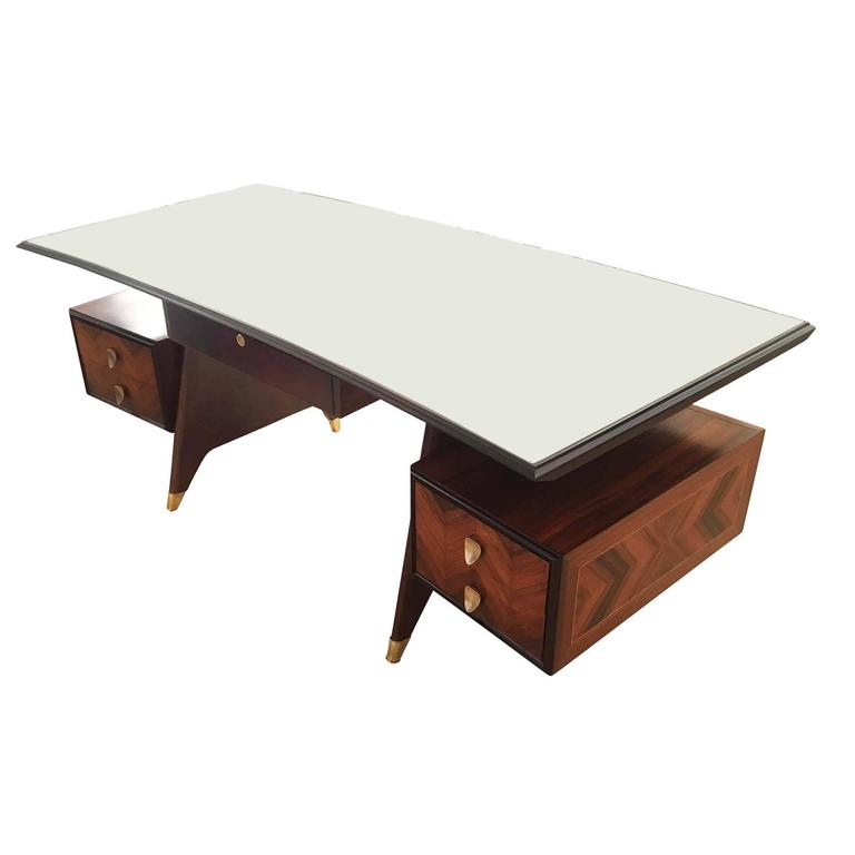 Mid Century Modern Large Executive Desk Attributed To Dassi Italy 1960s For