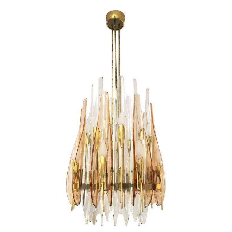 """Dahlia"" Chandelier by Max Ingrand for Fontana Arte, 1954 2"