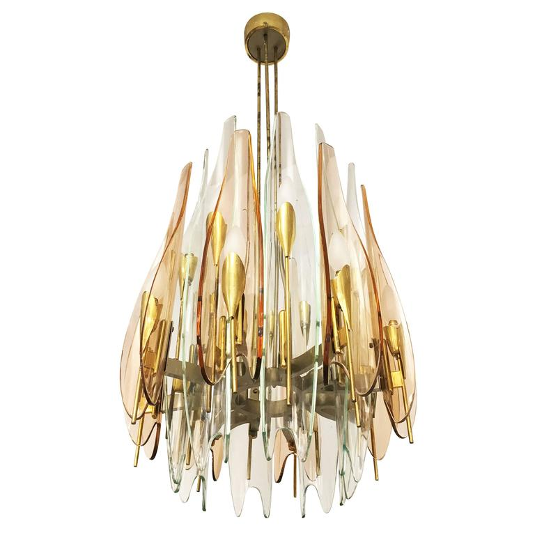 """Dahlia"" Chandelier by Max Ingrand for Fontana Arte, 1954 3"