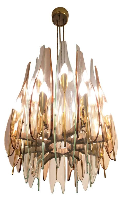"""Dahlia"" Chandelier by Max Ingrand for Fontana Arte, 1954 5"
